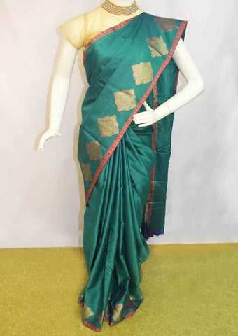Peacock Green Organza Cotton Sarees- FP10474 ARRS Silks