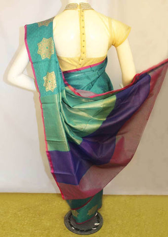 Peacock Green Organza Cotton Sarees- FP10486 ARRS Silks