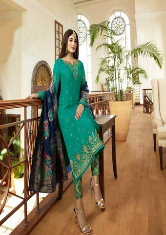 Peacock green Satin Georgette Grand Chudi Material -FQ67174 ARRS Silks