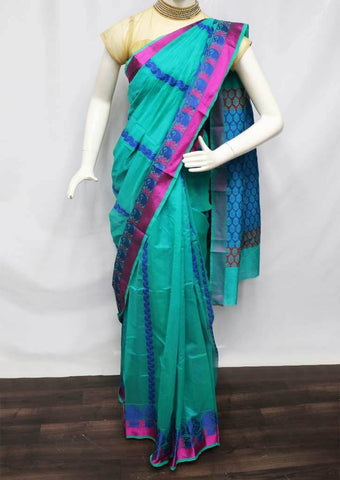 Peacock Green Silk Cotton Saree - FU27570 ARRS Silks