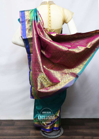 Peacock Green With Blue Kanchipuram Silk Saree - FN80523 ARRS Silks