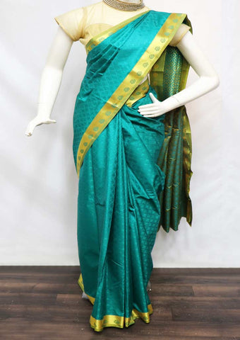 Peacock Green With Green semi silk saree  - FR131257 ARRS Silks
