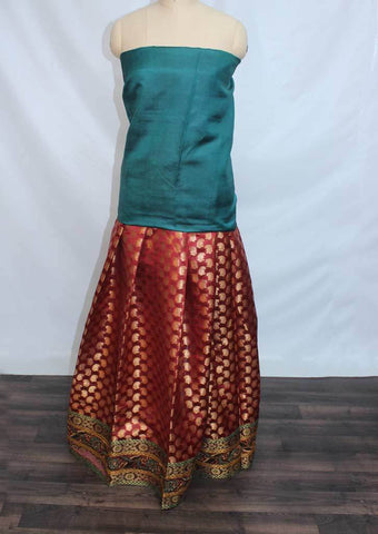 Peacock Green With Maroon Coloured Pattu Pavadai Material - BZ21640 (Size:  13Yrs to 18Yrs) ARRS Silks