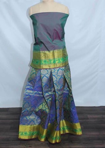 Peacock Green With Peacock Blue Coloured Pattu Pavadai Material - FF17519 (Size:  13Yrs to 18Yrs) ARRS Silks