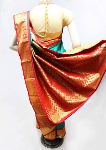 Peacock green with Peacock Blue Shade Semi Silk Saree- FS43797 ARRS Silks