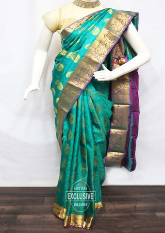 Peacock Green With Pink Kanchipuram Silk Saree - FT20383 ARRS Silks