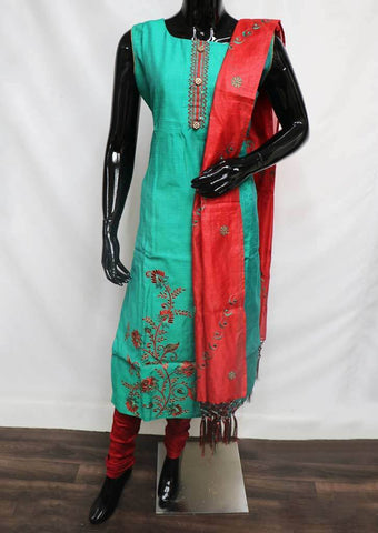 Peacock Green with Red Straight Cut  Readymade Salwar-FO76552 ARRS Silks