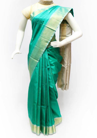 Peacock green with Sandal Soft Silk Saree - FL84558 ARRS Silks