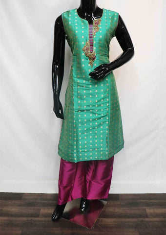 Peacock Green with Violet Plazo Readymade Salwar-FR56962 ARRS Silks