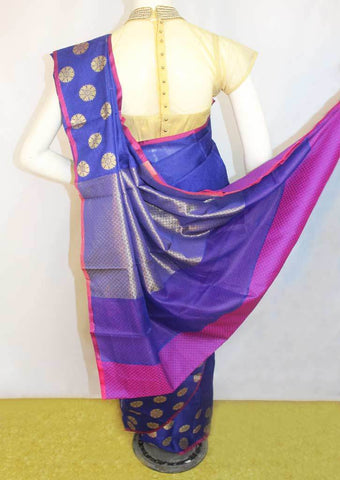 Pepsi Blue with Pink Organza Cotton Sarees- FP10477 ARRS Silks