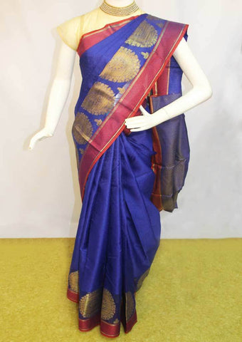 Pepsi blue with Red Organza Cotton Sarees- FP10481 ARRS Silks