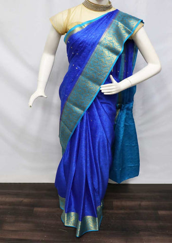 Pepsi Blue With Sky Blue Mysore Silk Saree - GA13158 ARRS Silks
