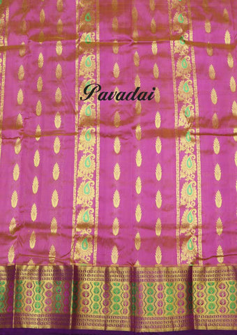 Pink Color Pure silk Unstitched pattu pavadai - EO6361( Age-2 year to 3 years) ARRS Silks