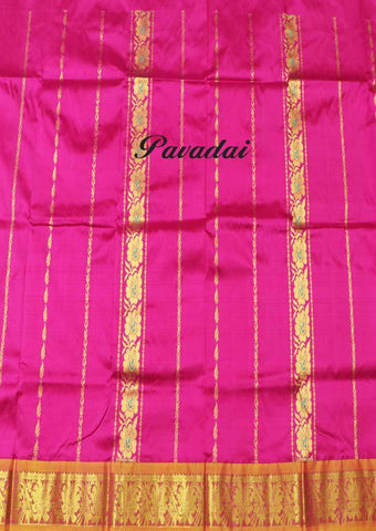 Pink Color Pure silk Unstitched pattu pavadai - FF17484( Age-3 year to 6 years) ARRS Silks