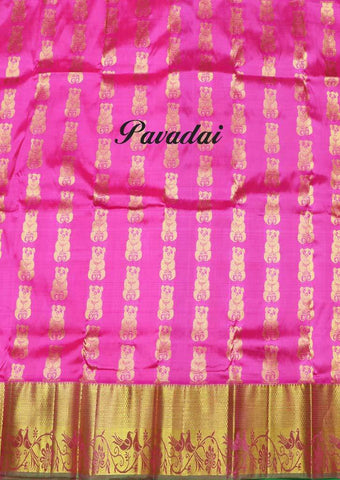 Pink Color Pure silk Unstitched pattu pavadai - FP28505( Age-2 year to 3 years) ARRS Silks
