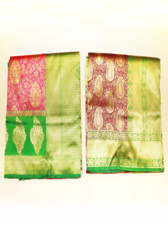 Pink & Maroon Soft Semi Silk Saree (Buy 1 Get 1)  - FR15975, NCU21897 ARRS Silks