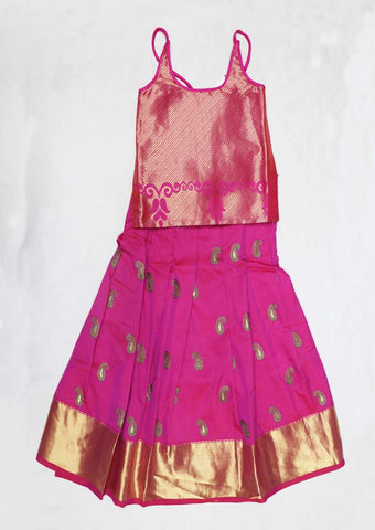 Pink Pure silk Stitched pattu pavadai - FB1603 ( Age-4 years) ARRS Silks