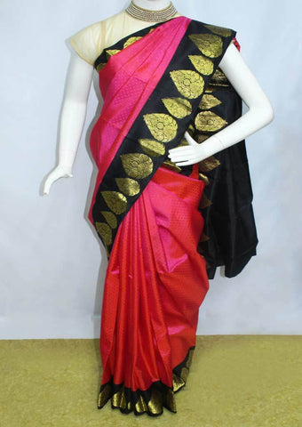 Pink With Black  Kanchipuram Silk Saree-EY1373 ARRS Silks