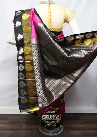Pink With Black Kanchipuram Silk Saree - FK28032 ARRS Silks
