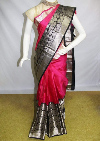 Pink with Black Kanchipuram Silk Saree-FM83181 ARRS Silks