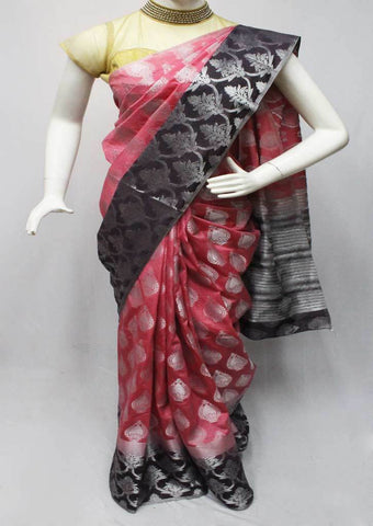 Pink with Black Semi Raw Silk Saree-FQ116198 ARRS Silks