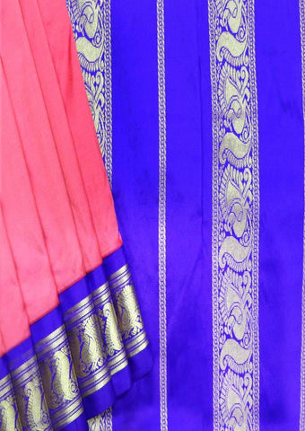 Pink with Blue Color 9.5 Yards Silk Saree - FR117814 ARRS Silks