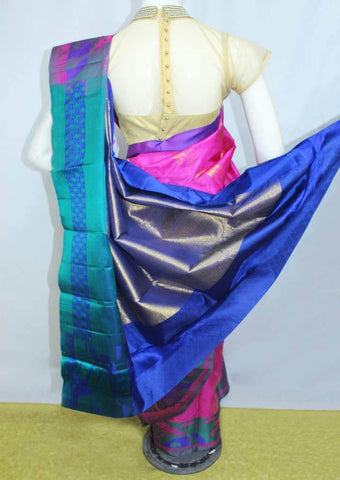 Pink With Blue  Kanchipuram Silk Saree-EY2469 ARRS Silks