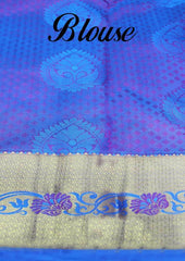Pink with Blue Kanchipuram Silk Saree-FQ41861 ARRS Silks