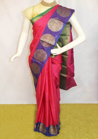Pink with Blue Organza Cotton Sarees- FP10478 ARRS Silks