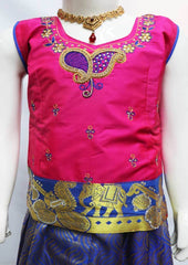 Pink with Blue Pattu Pavadai - FR21982(Size: 6 Years) ARRS Silks
