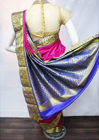 Pink with Blue Semi Silk Saree - FS31824 ARRS Silks