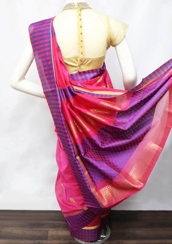 Pink with Blue Silk Cotton Saree - HBN7738 ARRS Silks