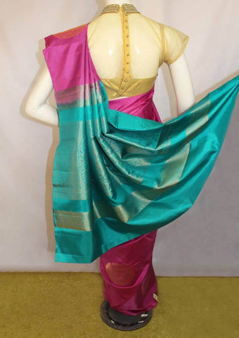 Pink With Blue Soft Silk Saree -FL87113 ARRS Silks