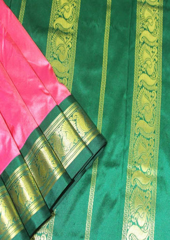 Pink with Dark Green Color 9.5 Yards Silk Saree - FP3783 ARRS Silks