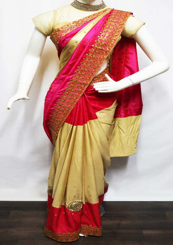 Pink With Golden Designer Saree - GH34049 ARRS Silks