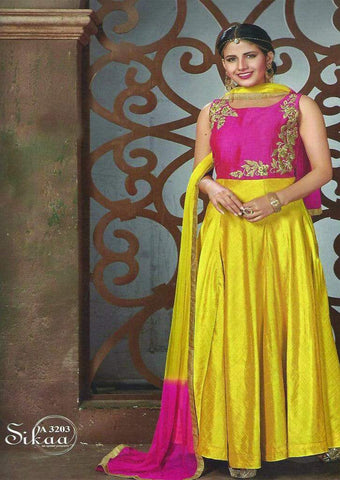 Pink With Golden Yellow  Readymade Salwar ARRS Silks