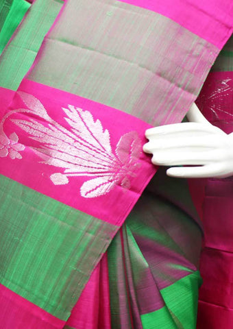 Pink with Green Checked  Kanchipuram Silk Saree -FS24953 ARRS Silks