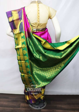 Pink With Green Kanchipuram Silk Saree - FM89796 ARRS Silks