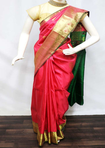 Pink With Green Kanchipuram Silk Saree - FQ31425 ARRS Silks