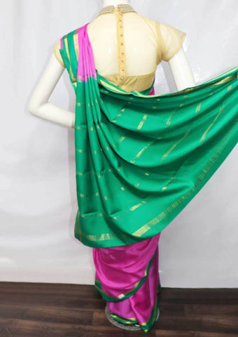 Pink with Green Mysore Silk Saree - FR46759 ARRS Silks