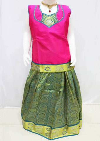 Pink with Green  Pattu Pavadai - FQ103721 (Size : 11 Years ) ARRS Silks