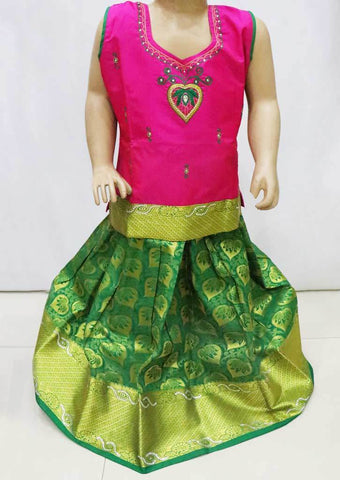 Pink with Green  Pattu Pavadai -FQ49381  (Size : 5 Years ) ARRS Silks