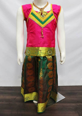Pink with Green Pattu Pavadai - FU3160 (Size: 6 Years) ARRS Silks