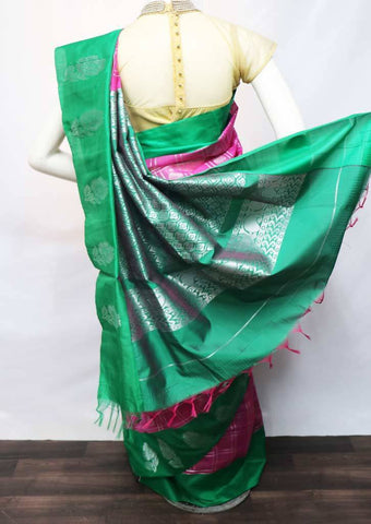 Pink with Green Pure Silk Cotton Saree - FV10410 ARRS Silks Salem