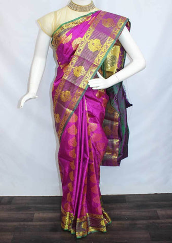 Pink With Green Semi Silk Saree- FF17123 ARRS Silks
