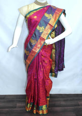 Pink With Green Semi Silk Saree- FL6621 ARRS Silks