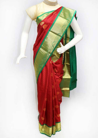 Pink with Green Semi Silk Saree- FS43887 ARRS Silks