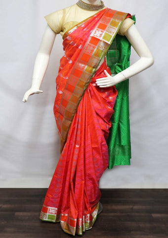 Pink With Green semi silk saree  - FS957 ARRS Silks