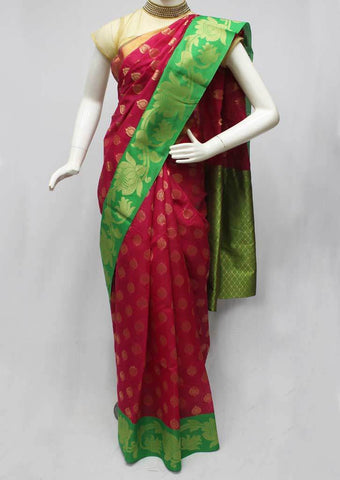 Pink with Green Silk Cotton Saree - FO88408 ARRS Silks