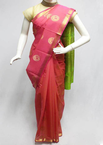 Pink with Green Silk Cotton Saree - FR123673 ARRS Silks